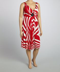 Look at this #zulilyfind! Life and Style Fashions Red & White Stripe Surplice Dress - Plus by Life and Style Fashions #zulilyfinds