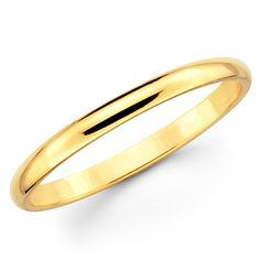 14K Solid Yellow Gold 2mm Plain Wedding Band by TheJewelryGalleria