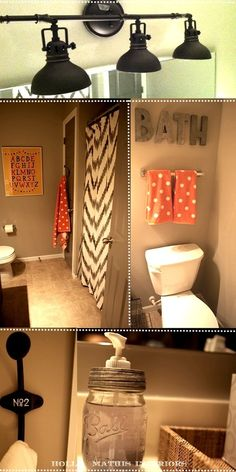 great blog with lots of cute decor.    Love the colors of this bathroom