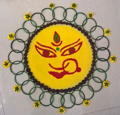 New yellow flower art happy Ideas Simple Rangoli Designs Images, Rangoli Designs Latest, Rangoli Border Designs, Small Rangoli Design, Rangoli Designs Diwali, Beautiful Rangoli Designs, Diy Diwali Decorations, Festival Decorations, Festival Rangoli