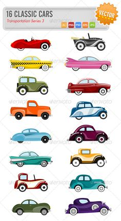 16 Vector classic cars - Objects Vectors