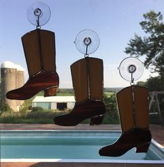 Handmade Stained Glass Cowboy Boot Suncatcher by QTSG on Etsy