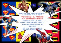 Superhero Birthday Invitations Templates Free Myles Pinterest - Free birthday invitation templates superhero