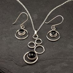 Handmade Sterling Silver Necklace Black Onyx Necklace by Artulia
