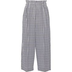 Sonia Rykiel Cropped gingham wool wide-leg pants (€655) ❤ liked on Polyvore featuring pants, capris, bottoms, stitch pants, sonia rykiel, cropped capri pants, creased pants and wool trousers