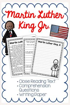 Martin Luther King Close Reading Passage, Comprehension Questions, and Final Draft Writing Paper