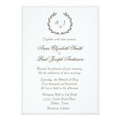 Rustic Elegant laurel Wedding Invitation
