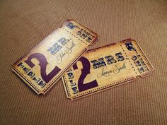 Vintage Circus Wedding Place Card Tickets