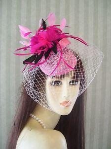 Pink Kentucky Derby Fascinator Hat Wedding Ascot preakness Burlesque USA Seller