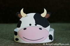 Create Your Own Cow Paper Crown Print Cut Amp Glue Printable PDF