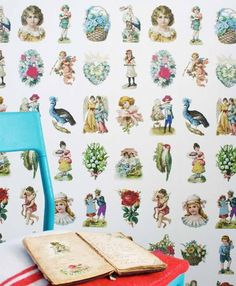 £102.43 Price per roll (per m2 £35.57), Studio Ditte, Carrier material: Non-woven wallpaper, Surface: Smooth, Look: Matt, Design: Vintage pictures, Basic colour: Cream, Pattern colour: Yellow, Green, Light blue, Rose, Red, Characteristics: Good lightfastness, Low flammability, Strippable, Paste the wall, Wash-resistant