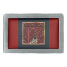 Pekingese Dog Red Asian Arch Scattered Sign Dog Belt Buckle - red gifts color style cyo diy personalize unique