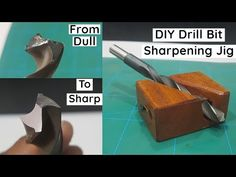 In this video you can learn how to easily sharpen drill bits using homemade drill bit sharpening jig. This jig is very simple to make and sharpen various siz. Metal Working Tools, Metal Tools, Wood Tools, Drill Bit Sharpening, Drill Press Table, Wood Drill Bits, Leather Repair, Hobby Kits, Homemade Tools