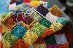 Decke / Blanket - Patchwork / Quilt + Stricken / Knitting