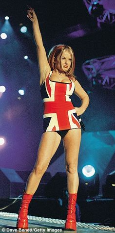 Geri performing with the Spice Girls at the Brit Awards in 1997...
