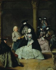 In the painting of Masked Party in a Courtyard by Pietro Longhi, I notice that people are enjoying wearing mask in the party with joyful atmosphere, which looks interesting to me because it reminds me the masquerade ball I had in the high school.