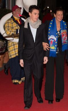 Louis Ducruet with his mother Princess Stephanie of Monaco attends the Monte-Carlo 37th International Circus Festival