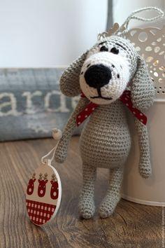 Crocheted Puppy / Вязаная Собачка - серый, вязаная игрушка, вязаная собака, вязаная собачка, пес