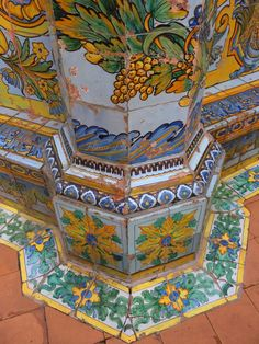 Hand-painted ceramic tiles at Santa Chiara, Naples