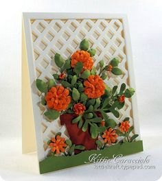 floral card with lattice background - bjl
