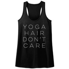 American Classics Black 'Yoga Hair' Racerback Slim-Fit Racerback Tank ($15) ❤ liked on Polyvore featuring tops, plus size, slimming tank top, racerback tank top, plus size graphic tanks, yoga tanks and womens plus tops