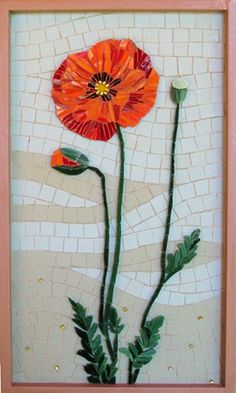 Poppy mosaic, yes I am bit obsession with poppies! LOL This is from Crystal Thomas Mosaic Art Mosaic Tile Art, Mosaic Crafts, Mosaic Projects, Stone Mosaic, Mosaic Glass, Glass Art, Mosaic Flowers, Stained Glass Flowers, Mosaic Designs