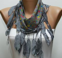 Scarf  Gray Cotton Scarf Headband Woman Necklace Cowl by fatwoman, $15.00