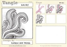 Zentangle - BEEZ in the Belfry: Tangle of the Week - Hairy Tangle Doodle, Tangle Art, Zen Doodle, Doodle Art, Zentangle Drawings, Doodles Zentangles, Doodle Drawings, Doodle Patterns, Doodle Designs