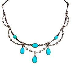 VICTORIAN c.1900s TURQUOISE, DIAMOND, SILVER & GOLD NECKLACE - Rare! Wearable!
