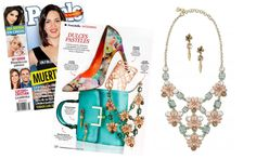 The Fleurette Statement Necklace and Cheryl Drop Earrings by Stella & Dot featured in People En Espanol (March 2014).