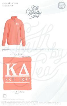 Kappa Delta | KD | Coral Quarter Zip | Embroidered Charles River Design | South by Sea | Greek Tee Shirts | Greek Tank Tops | Custom Apparel Design | Custom Greek Apparel | Sorority Tee Shirts | Sorority Tanks | Sorority Shirt Designs