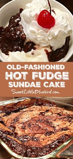 OLD-FASHIONED HOT FUDGE SUNDAE CAKE (aka Chocolate Cobbler) - Old School Favorite! Ooey gooey chocolate cake with a chewy brownie-like top and a thick fudgy, puddling-like sauce on the bottom that's served warm over ice cream. Brownie Desserts, Köstliche Desserts, Brownie Cake, Gooey Chocolate Cake, Chocolate Cobbler, Desserts With Chocolate Pudding, Ooey Gooey Cake, Chocolate Deserts, Betty Crocker