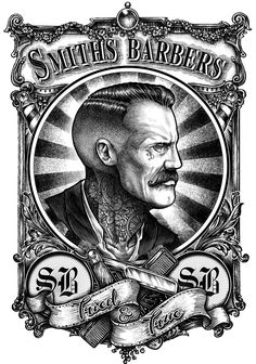 A collect of designs produced for barbers and hairdresser.