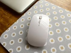 Gold White and Gray Cotton Pattern Mouse Pad  by EvelynBrook