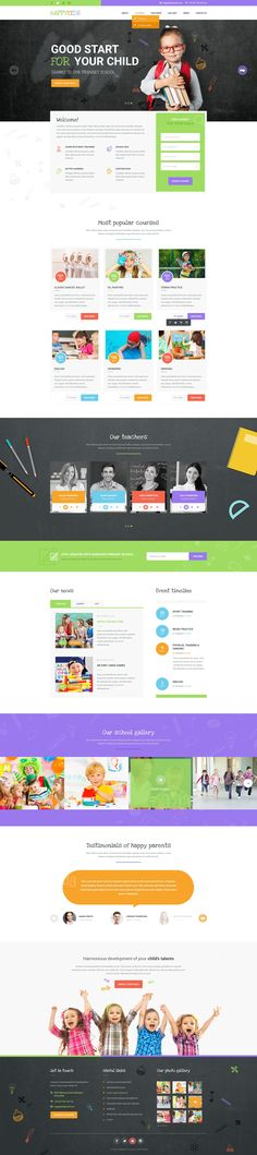 HappyKids is a primary and kindergarten #school #PSD template for #kids and…