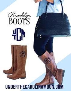 Brooklyn Brown Monogrammed Boots | underthecarolinamoon.com #MonogrammedBoots #monogramboots #FallBoots #BrownBoots #BrooklynBoots #UTCM #UnderTheCarolinaMoon