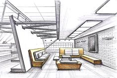 Interior design Sketches Easy - Visit the post for Architecture Design Concept, Interior Design Renderings, Plans Architecture, Drawing Interior, Interior Rendering, Interior Sketch, Interior Architecture, Architecture Drawings, Lobby Interior