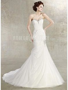Applique robe de mariée moderne tulle col en cœur broderie tulle [#ROBE209437] - robedumariage.com