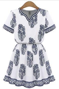 White Short Sleeve V-neck Print Pleated Flared Cotton Vintage Dress