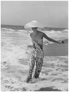 Diana Ewing, in the Pacific Ocean, wearing jeans by Lilly Pulitzer - Photo by John Shannon, Vogue, July 1972