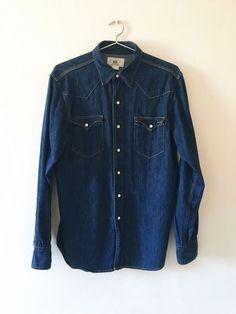 from $50.0 - Rrl #RalphLauren Western Denim Shirt In Blue Sz Large L Indigo  Selvage