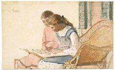 Winslow Homer (American, 1836–1910), Two Girls Looking at a Book, about 1877.  Watercolor on paper.  13.6 x 22 cm (5 3/8 x 8 11/16 in.).  Museum of Fine Arts, Boston, 68.572.