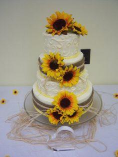 sunflower and burlap wedding cakes | sunflower wedding cake - by sweettooth @ CakesDecor.com - cake ...