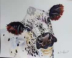 "ORIGINAL WATERCOLOUR COW PAINTING ""British White"""