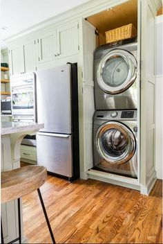 """Receive wonderful pointers on """"laundry room stackable ideas"""". Receive wonderful pointers on """"laundry room stackable ideas"""". Washer Dryer Closet, Laundry Dryer, Laundry Closet, Laundry Room Storage, Laundry Room Design, Kitchen Design, Kitchen Storage, Storage Spaces, Laundry In Kitchen"""