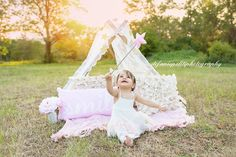 www.stefaniepolitiphotography.com, child photography, child photographer, NJ child photographer, Hunterdon County child photographer, girl, portrait, happy birthday, first birthday, one, one year old, lace, lace tent, magic, sunset