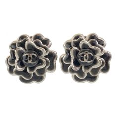 Camelia Chanel, Chanel Earrings, Camellia, Black Silver, Metal, Accessories, Color, Jewelry, Products