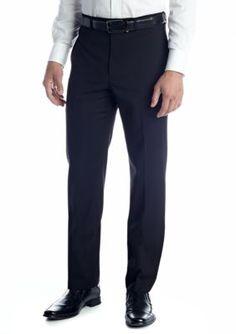 Calvin Klein Black Slim-Fit Flat Front Wrinkle Resistant Pants