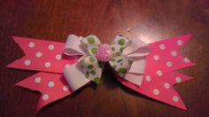 Pink and Green Pinwheel by AmalieBowtique on Etsy, $4.75