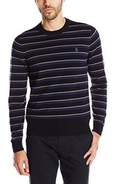 Original Penguin Men's Long Sleeve Crew Neck with AOR, True Black, XX-Large ❤ Penguin Men's Sportswear & Accessories